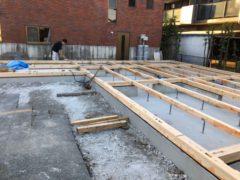 木造住宅新築工事 土台伏せ